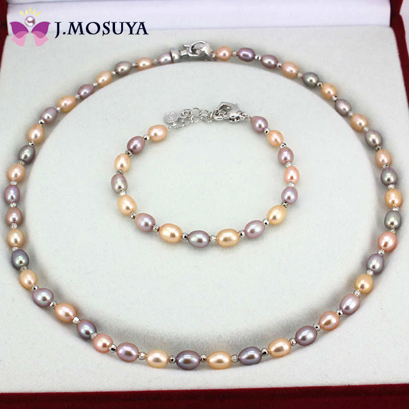 100% Real Natural Pearl Jewelry Sets For Women Water Drop Gold/Purple Freshwater Pearl Set Gift(China (Mainland))