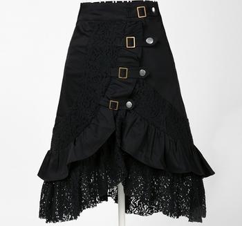 Стимпанк одежда женщины в большие размер черный хлопок кружево юбка xl большой гот ...