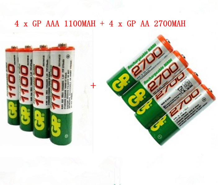 High Power 4pcs AAA 1100mah + 4 pcs AA 2700mah 1.2V GP Rechargeable NiHM Battery(China (Mainland))