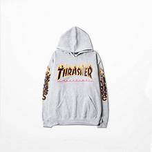 Hip hop men fashion sportswear fleece sweatshirts hooded autumn winter skateboard graphic pullover hoodies mens thrasher hoodie(China (Mainland))