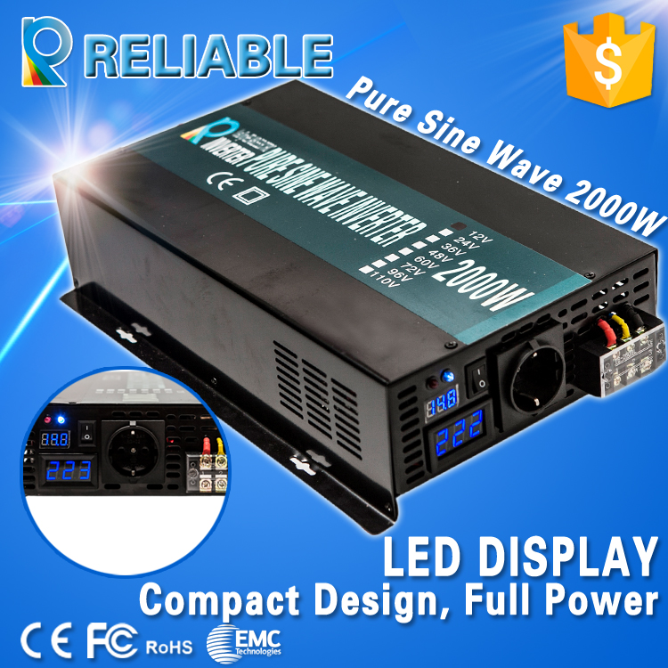 LED display 2000w 12V 220V dc to ac voltage converter high frequency home power generator Pure Sine Wave solar power inverter(China (Mainland))