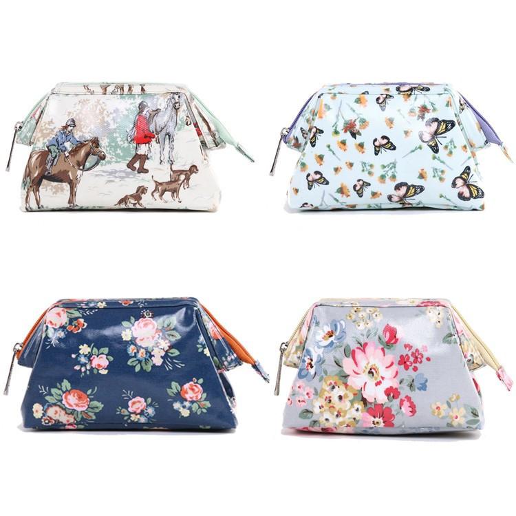 2015 New Fashion PU Membrane Waterproof Cosmetic Bag Neceser Girls Retro Floral Handbag(China (Mainland))