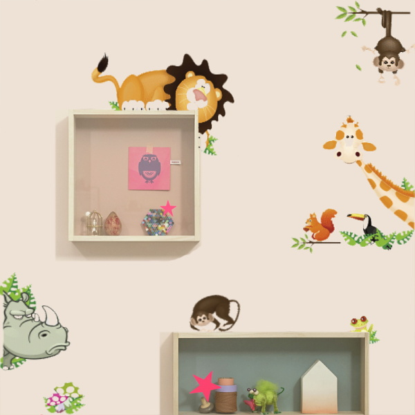 cute jungle wild animals lovely wall sticker kids room cartoon stickers home decor funiture decoration cd001 - Idea Home-STORE store