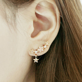 Fashion Gold Star Stud Earrings for Women 2015 Brand Elegant Quality Short Earring Jewelry(China (Mainland))