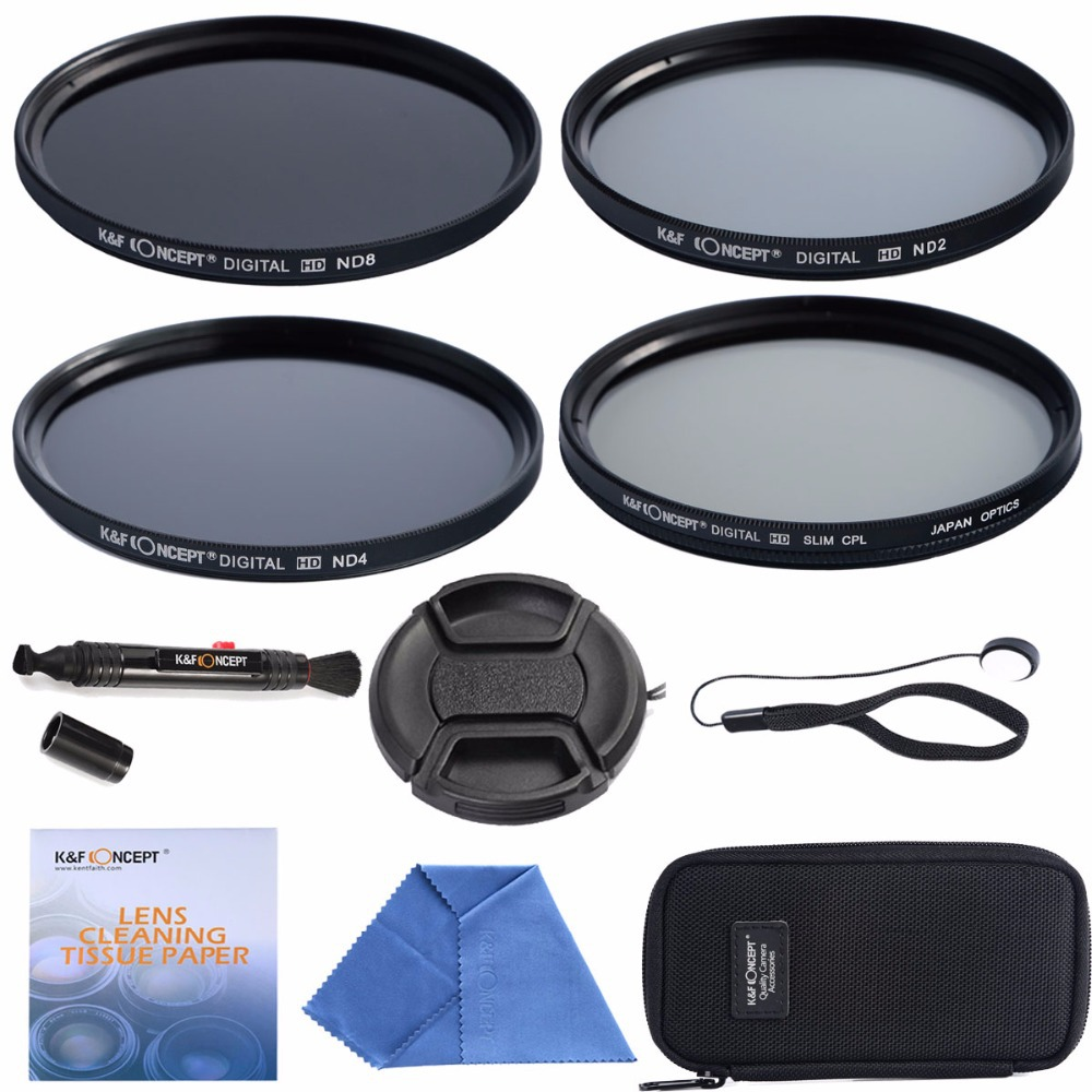 55mm CPL + ND2 ND4 ND8+Cleaning kits+ pouch bag Filter Kit Lens Filter Kit for Nikon D7100 D7000 D3100 D3000 Dslr Camera(China (Mainland))