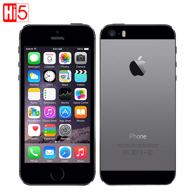 Оригинальный Apple iphone 5s Мобильный Телефон Factory Unlocked IOS Touch ID 4.0 16 ГБ/32 ГБ/64 ГБ ROM WCDMA WiFi GPS 8MP смартфон