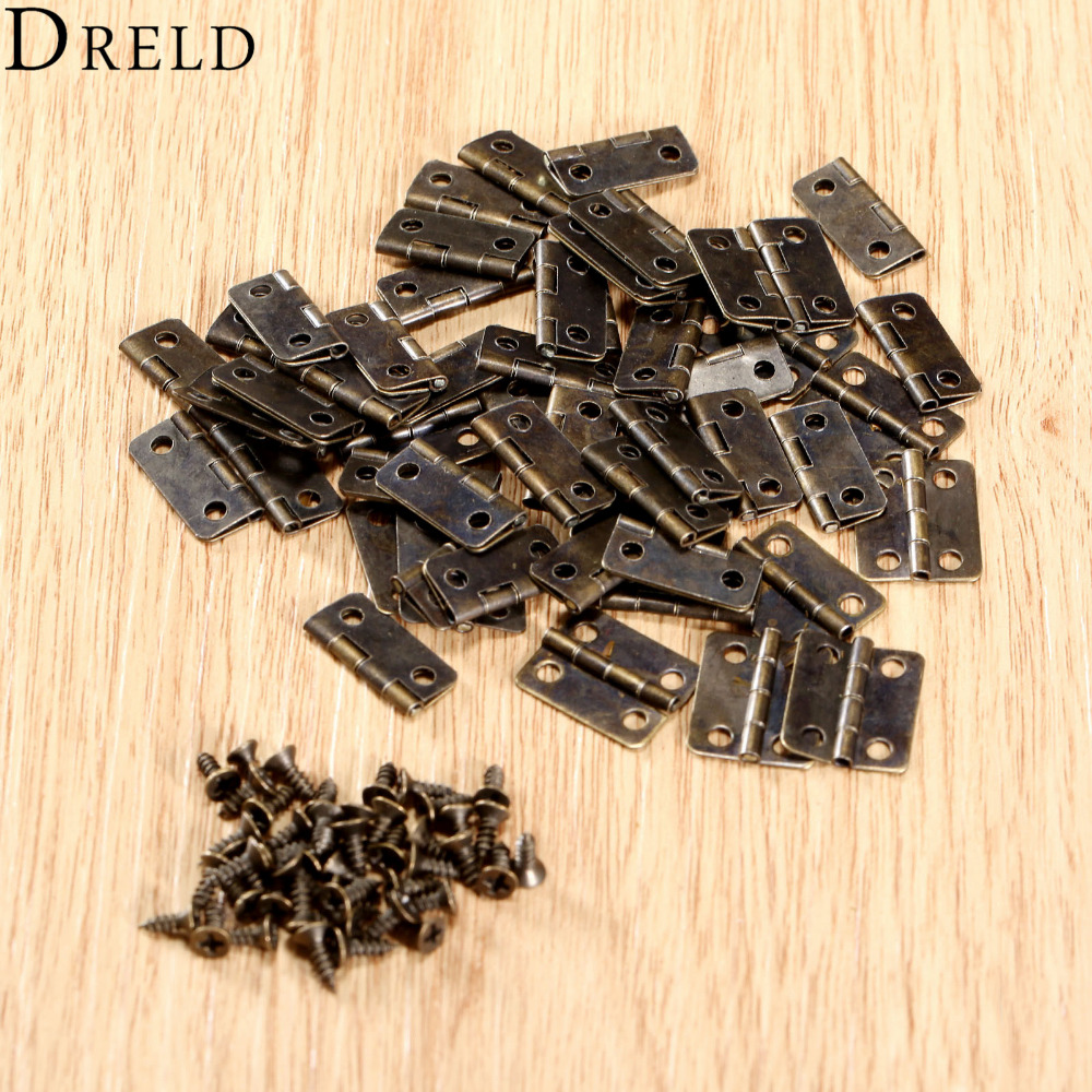 50Pcs 16x13mm Antique Bronze/Gold Cabinet Hinges Furniture Accessories Jewelry Boxes Small Hinge Furniture Fittings For Cabinets(China (Mainland))