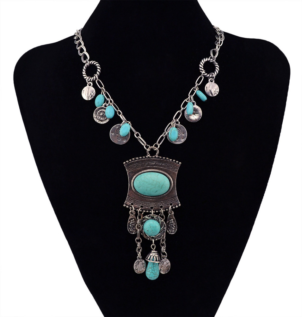 long fashion necklaces genuine turquoise statement ...