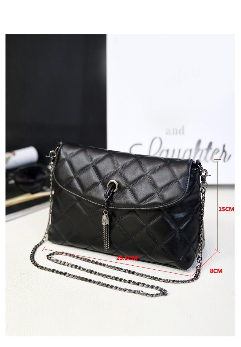 Plaid Small Fringe Embroidery Clutches Women Crossbody Black Bag Quilted Flap Shoulder Bag Women Messenger Chain Tassel Bag