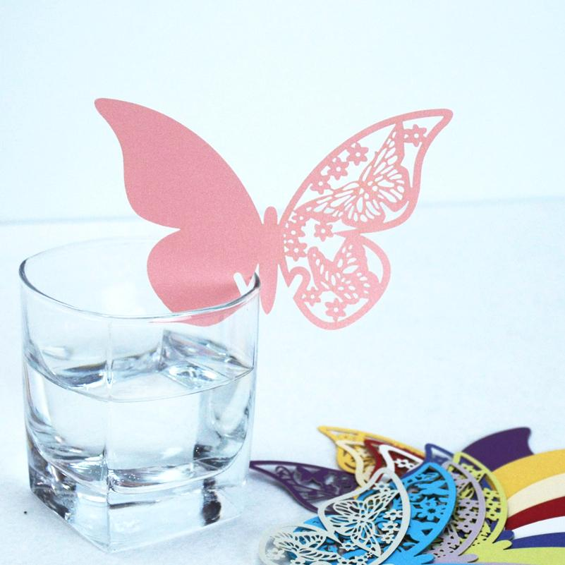 36 Pcs/Lot 3D Laser Cut Paper Butterfly Cup Cards Wine Glass Place Card Pretty Wedding Party Decoration Favors Table Decoration(China (Mainland))