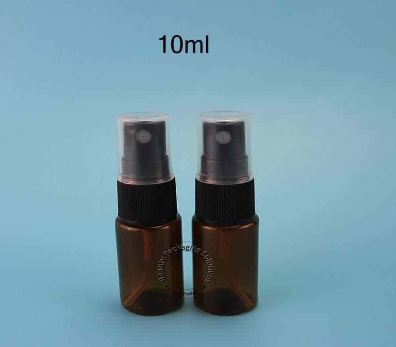 50pcs/Lot Promotion Plastic 10ml Perfume Bottle 1/3OZ Small Cosmetic Black Cap Spray Jar PET Refillable Packaging Mini Vials(China (Mainland))
