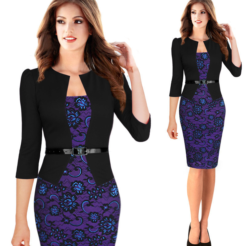 New Europe Womens Elegant Faux Twinset Belted Tartan Floral Lace Patchwork Wear to Work Business Pencil Sheath Bodycon Dress(China (Mainland))