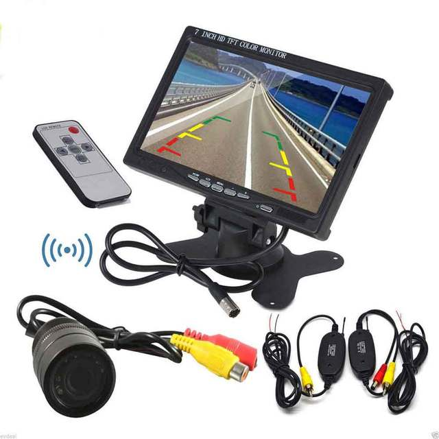 7 Inch LCD Color Car Monitor + Wired Car Camera Rear View Backup Camera Wireless Transmitter Receiver Kit