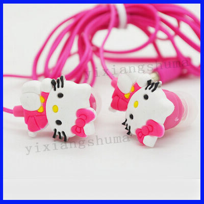 free shipping Hello kitty earphone headphone for cell phone/ ipod mp3/mp4 mobile good quality cartoon 2014 New Arrival(China (Mainland))