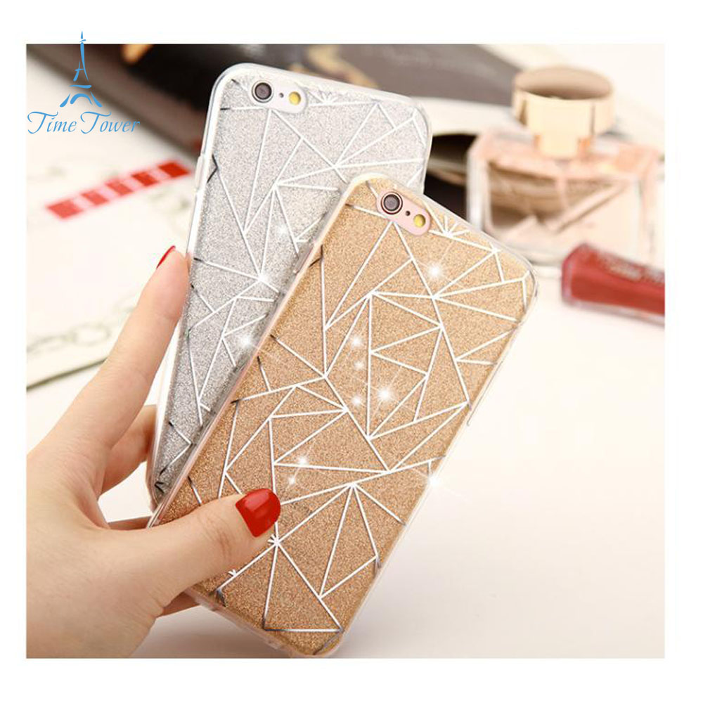 Soft TPU case for Apple iphone 7 case Bling Diamond-shaped Gradients Silicone painted case for iphone 7 back cover(China (Mainland))