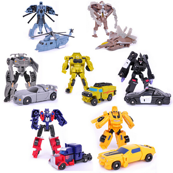 Hot Sale Transformation Robot Cars Action Figures Toys 7PCS/LOT Bumblebee/Optimus prime/Heliocpter Autobots Doll Gift for Boy(China (Mainland))