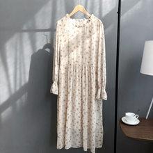 פרחוני הדפסת נשים שיפון ארוך שמלה לפרוע O צוואר בז 'קפה קו בציר שמלה(China)