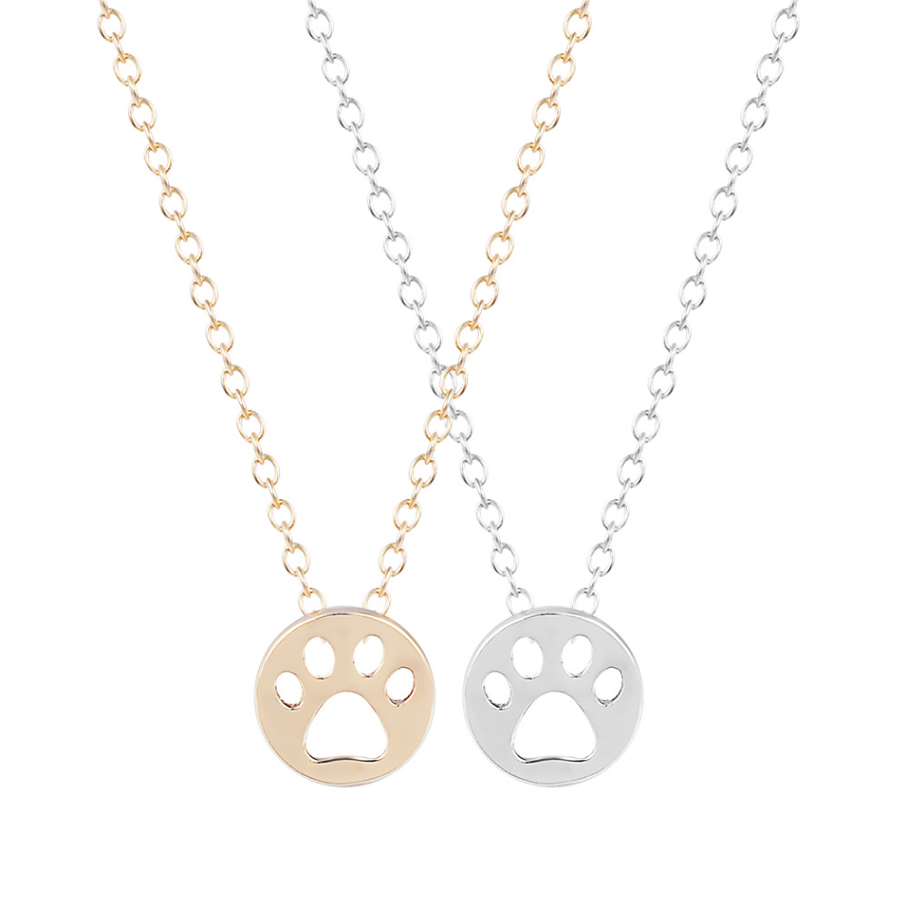 Dog Paw Necklace Print Dye Cut Coin Shaped Animal Charm Pendant in Gold Long Necklace for women girls Nice Jewelry(China (Mainland))
