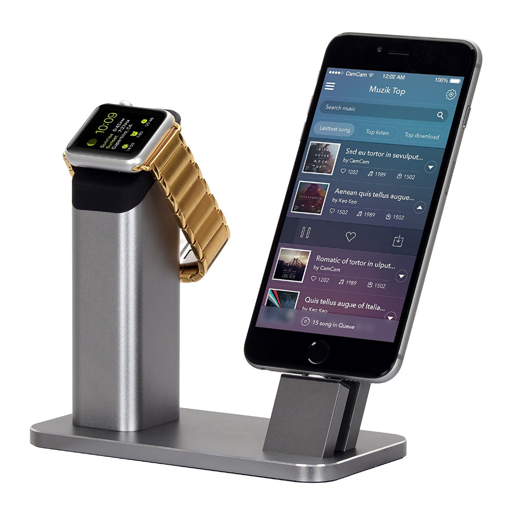 Flash Sale Aluminium Stand Holder Charging Dock Charger Station Mount Base For Apple Watch iPhone SE/5/5s/6/6S/7/7S/PLUS(China (Mainland))