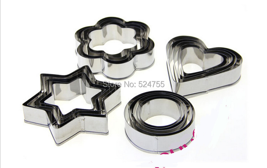 New 20pcs/Lot Metal Stainless Steel Four Kinds Biscuits Cookie Cutter Mold Cake Decoration Bakeware Kitchen Cooking Tools(China (Mainland))