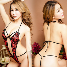 Printing Red Leopard Sexy Lingerie 2016 New Hot Open Adults Women Leotard Sling Polyester Teddies Prom Queen Bodysuits Free Size