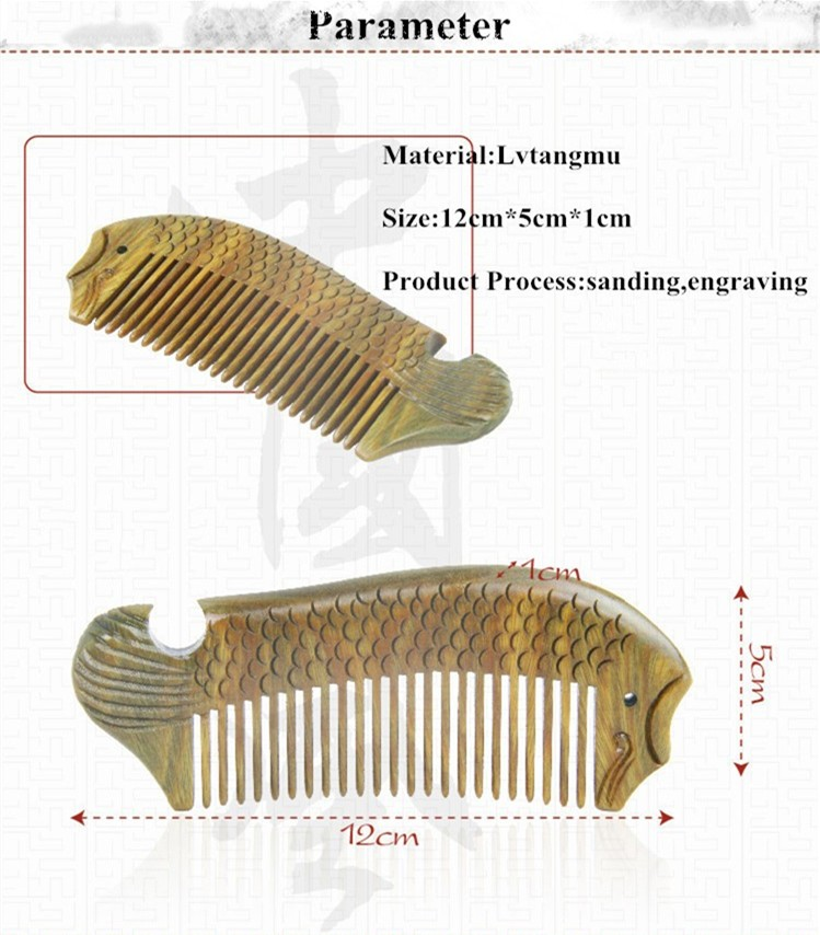 Wood material 100% wild handmade peach wooden comb natural head massage hair brush hair care fish shape comb for beard
