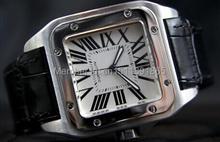 2014 nuevos hombres de reloj automático banda de cuero negro santos original hombres dial square relojes de lujo