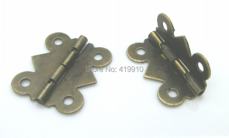 Free Shipping-50pcs Antique Bronze 4 Holes Door Butt Hinges 20x24mm,Wide Size:19mm-20mm M00812(China (Mainland))
