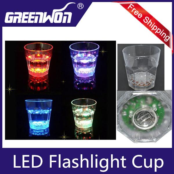 High Promotion 6PCS Dreamlike LED Plastic Activated Flashing Whiskey Cup Wine Mug For Party House Decor(China (Mainland))