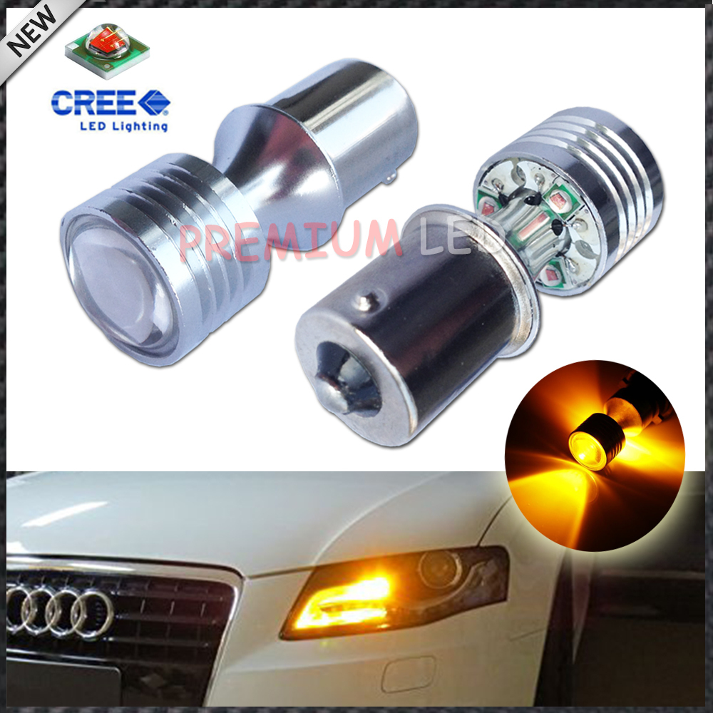 2pcs Amber Yellow Error Free 1156 7506 P21W CREE Projector LED Replacement Bulbs For Car Front or Rear Turn Signal Lights<br><br>Aliexpress