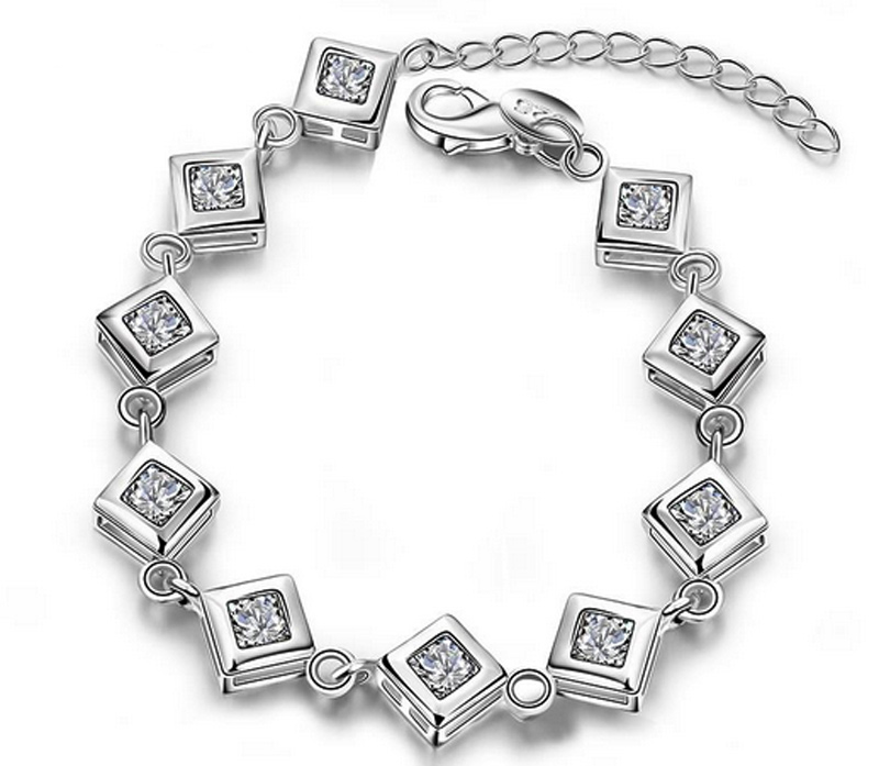 Hot Sale Shiny Austrian Crystal Rubic Cube Silver-Plated Woman Girl Bracelet Pulseras Cube Jewelry Stellux Cube Charm Bracelet(China (Mainland))