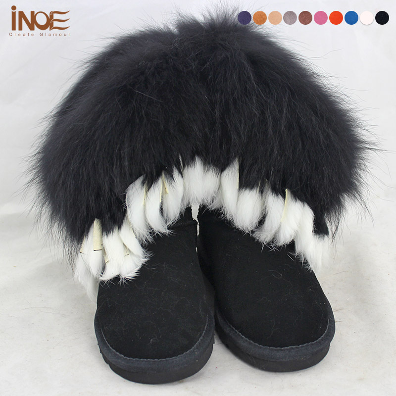 Nature fox fur boots Real genuine leather tassels fashion snow boots for women winter shoes black flats mid-calf high quality<br><br>Aliexpress