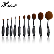 10pcs/lot Power Makeup Brush Beauty Oval Cream Puff Cosmetic Toothbrush-shaped foundation brush Blend Tools pincel with box