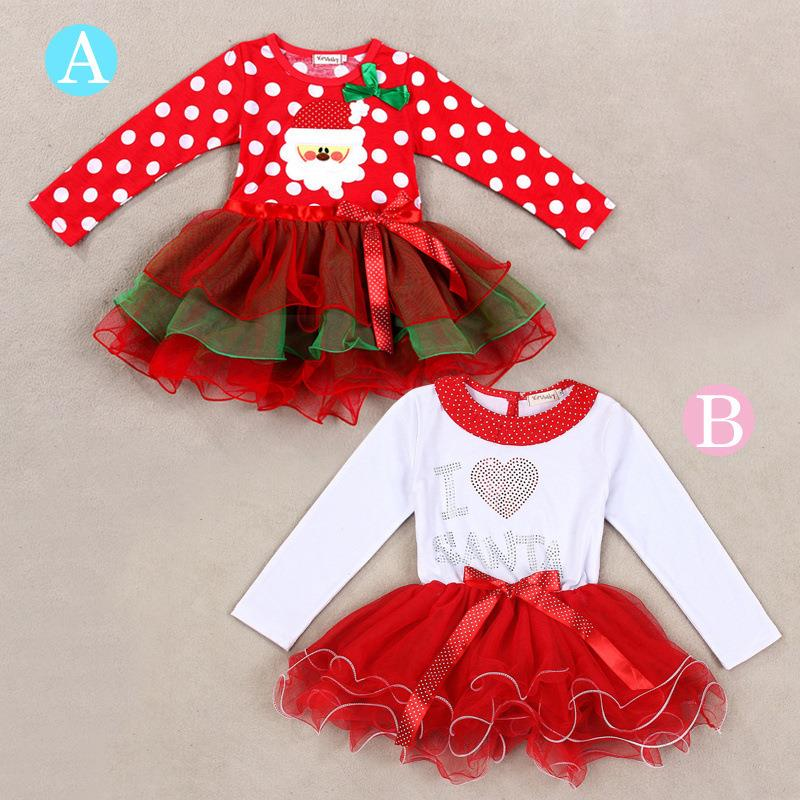 2015 The New infant christmas dresses Santa Claus Bow tutu set christmas outfits toddlers clothes(China (Mainland))