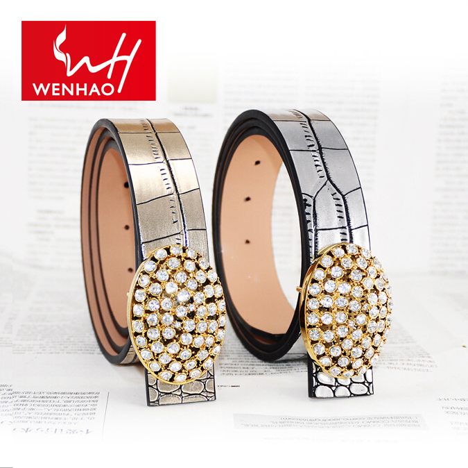 2015 new arrival fashion designer women belts genuine crocodile leather waist strap lady alloy round crytal buckle bets sliver(China (Mainland))