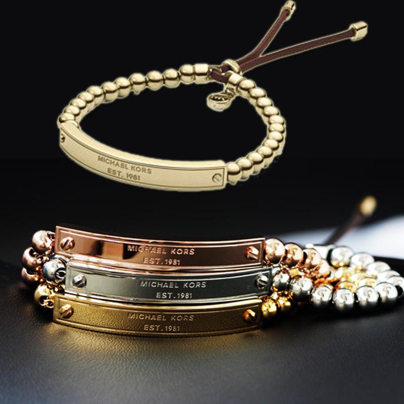 quality Rose gold Metal Ball Bead Flexible Leather Bracelets charm bracelet Bangles Luxury kors Women UnisexBracelet Jewelry(China (Mainland))