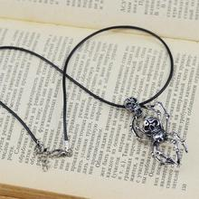 Punk Style Titanium Stainless Steel Spider Body Skeleton Head Pendant Necklace Wax Rope Chain Fashion Jewelry