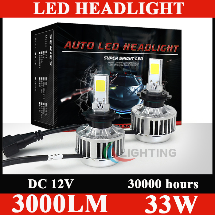 All In One H7 car led headlight H7 33W LED 3000LM White CREE led car headlight Headlamp Bulb Lamp Light Without Ballast(China (Mainland))