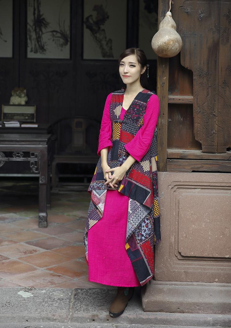 Скидки на 2016 Новая Мода Женская Национальная Ветер Китайский Cheongsam Хлопок Шаль Свободные Кнопка Патч Печатных Пальто Вскользь Куртки