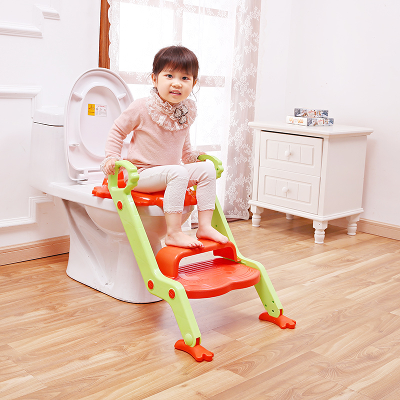 2015 hot selling portable potty seat trainer plastic folding ladder potty with step baby ladder toilet potty training(China (Mainland))