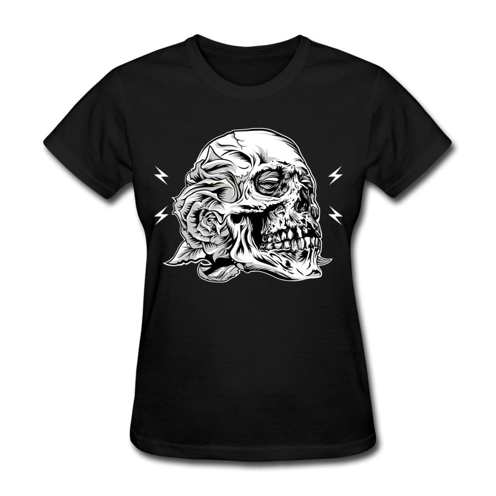Custom casual womens t shirt skull flower cool logo women for Designer t shirts brands