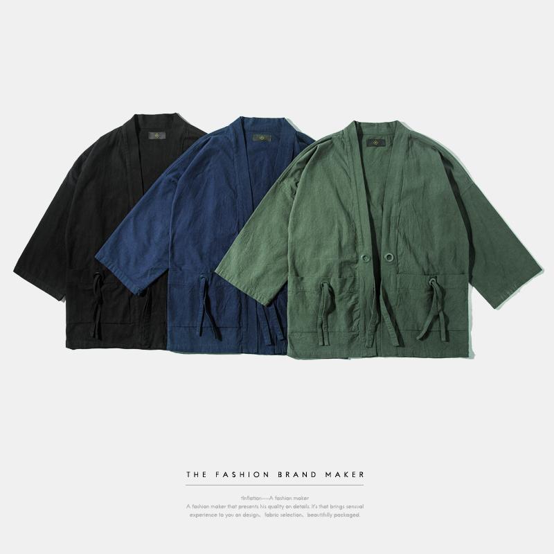 INF Mens | 2016 New Fashion streetwear mens Noragi kimono japanese Jackets kanye west jacket Hemp Men Jackets(China (Mainland))