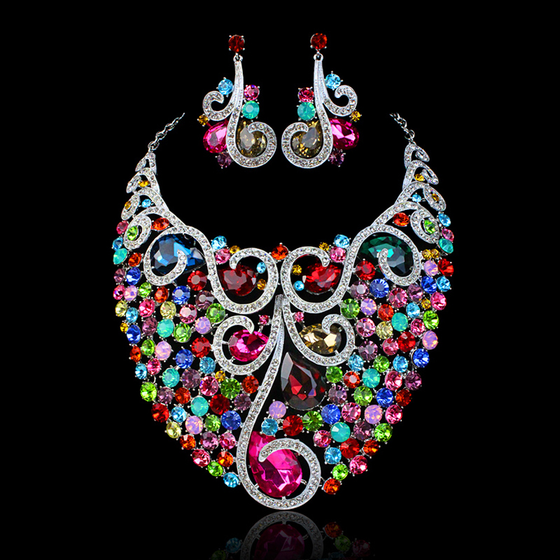 new wedding jewelry set bridal jewelry sets Indian jewellery statement necklace earring for brides and bridesmaid accessories(China (Mainland))