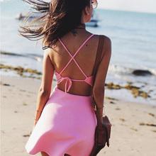 Buy 2016 Sexy Halter Backless Mini Boho Beach Dress Women Sleeveless V Neck High Waist Club Party Dressess Woman Vestidos De Festa