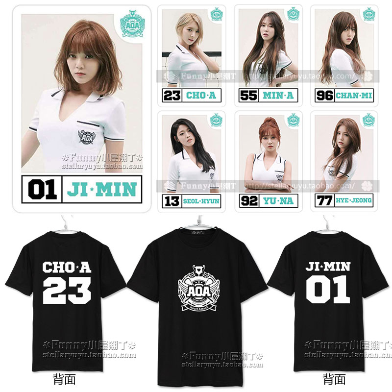 AOA comeback album Heart Attack bangs grass surrounding JIMIN E sleeved T-shirt men and women the same paragraph(China (Mainland))