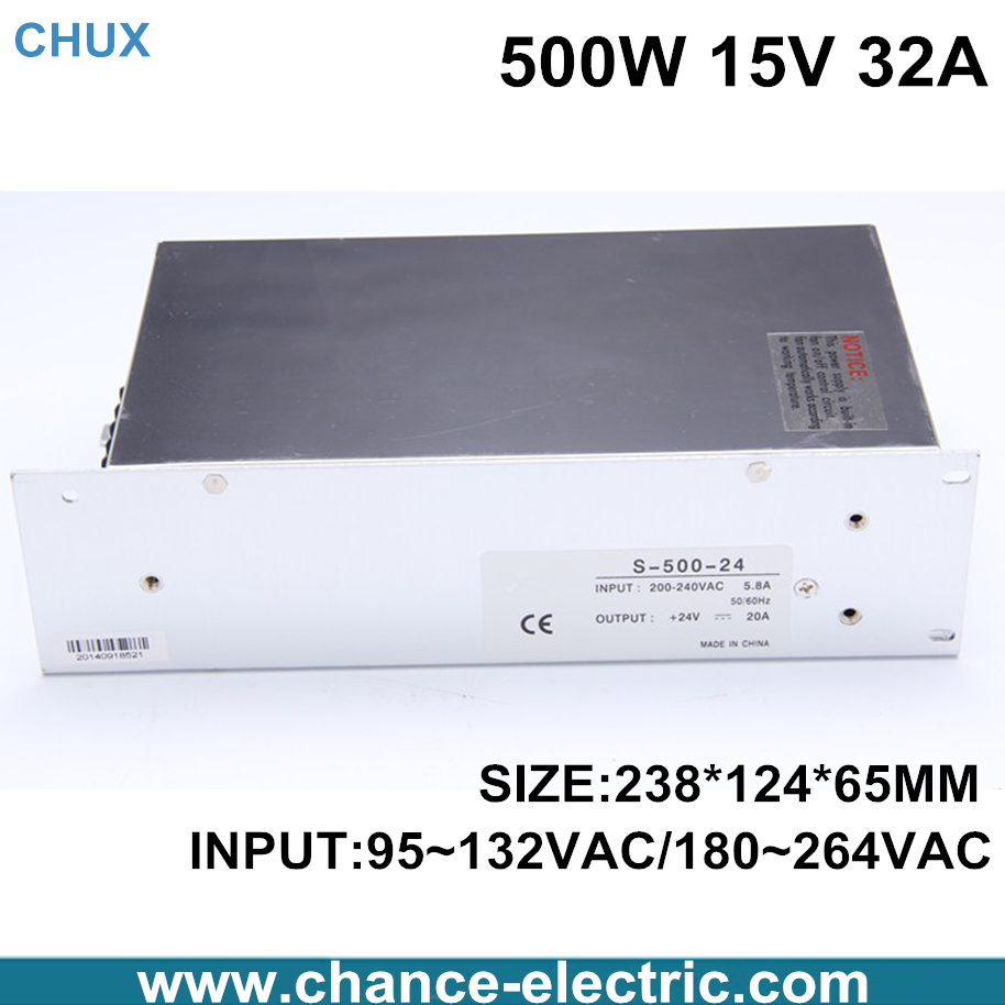 china adjustable switching power supply 15V 32A single output input 500W for cnc  led light(S-500W-15V) free shipping<br>