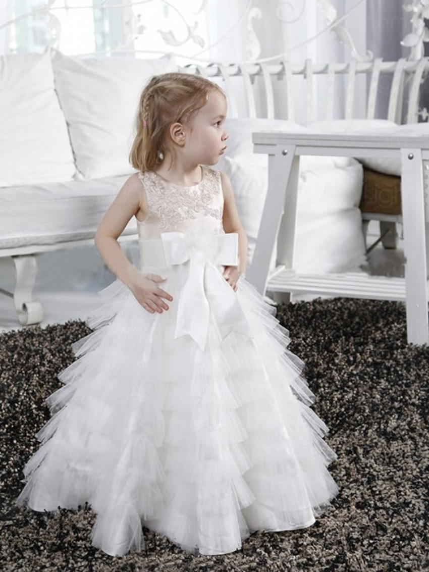 Buy cute white ball gown first communion for Little flower girl wedding dresses