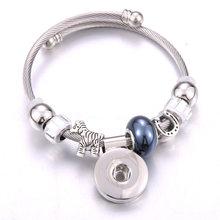 2019 nova elasticidade botão snap pulseira hrose prata pulseiras contas de jóias fazendo snap pulseira ajuste 18mm botões de pressão jóias(China)