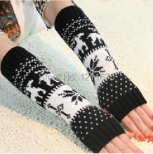 2PAIRS/LOT Fashion Deer Decor Short Winter Warm Half Fingers Arms Covers Long Sleeves Wrist Cover(China (Mainland))