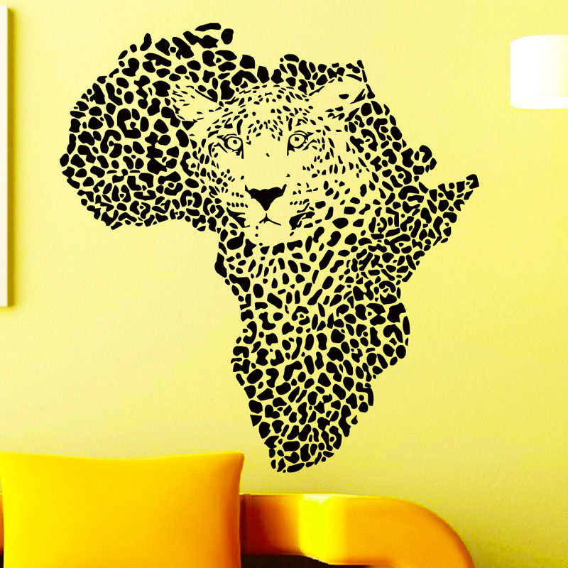 Leopards Head Wall Stickers <font><b>African</b></font> Map <font><b>Home</b></font> <font><b>Decor</b></font> Vinyl Removable Adhesive Wall Decals Art Murals